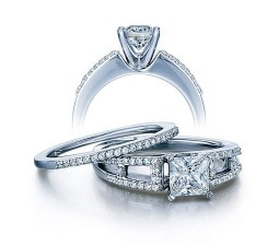2 Carat Princess cut Diamond Antique Bridal Ring Set on 10K White Gold