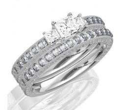 1 Carat  Diamond Antique Three Stone Wedding RinG Set on 10K White Gold