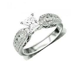 1 Carat Princess cut Diamond Inexpensive Antique Engagement Ring on 10K White Gold