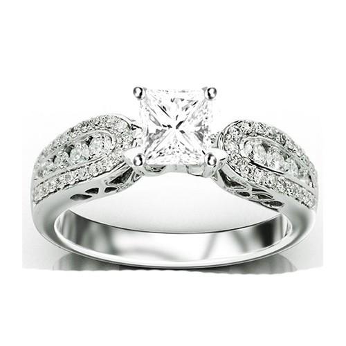 Enthralling Antique Diamond Engagement ring 1 00 Carat Princess Cut Diamond o