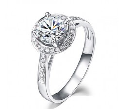 1 Carat Halo Round Diamond Engagement Ring on 14k White Gold