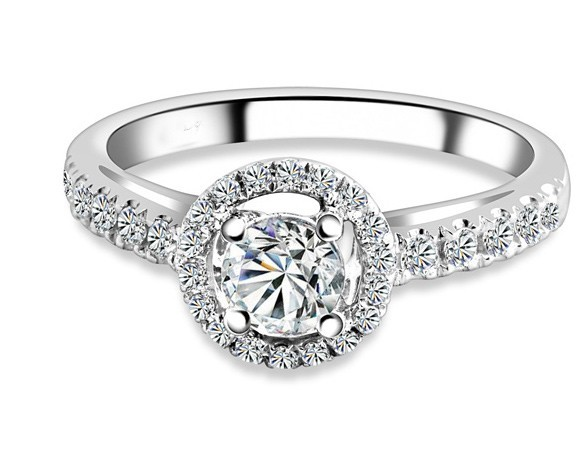 Sparkling Halo Cheap Engagement Ring 1 00 Carat Round Cut Diamond on 14k Whit