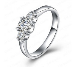 Three Stone Round Past Present and Future Engagement Ring for Her