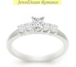 0.5 Carat Princess cut Diamond Cheap Diamond Engagement Ring On 10K White Gold