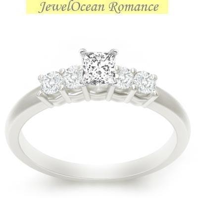 ... Diamond Wedding Ring 0.50 Carat Princess Cut Diamond on 10k White Gold