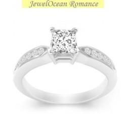0.5 Carat Princess cut Diamond Cheap Engagement Ring 10K White Gold