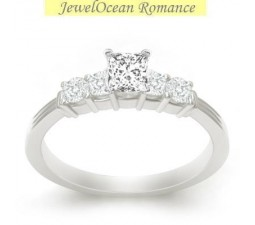 Sparkling Affordable Engagement Ring 0.50 Carat Princess Cut Diamond ...