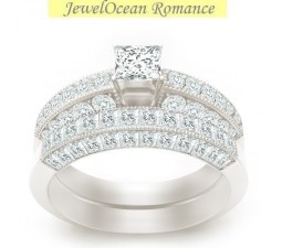 2 Carat Princess cut Diamond Antique Bridal Set On 10K White Gold