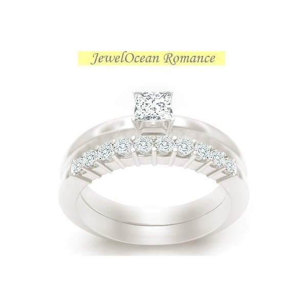 Alluring Cheap Diamond Bridal Set 1 Carat Princess Cut Diamond on 10k Gold