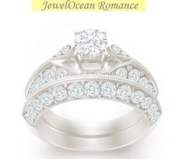 1 Carat Princess cut Diamond Antique Bridal Set On 10K White Gold
