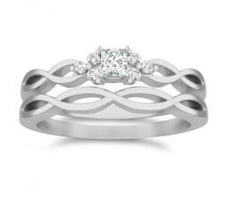 0.5 Carat Princess cut Diamond Diamond Wedding Set On 10K White Gold