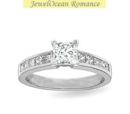 1 Carat Princess cut Diamond Princess Diamond Engagement Ring On 10K White Gold