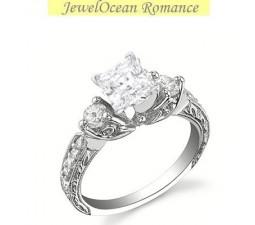 1 Carat Princess cut Diamond Antique Engagement Ring On 10K White Gold