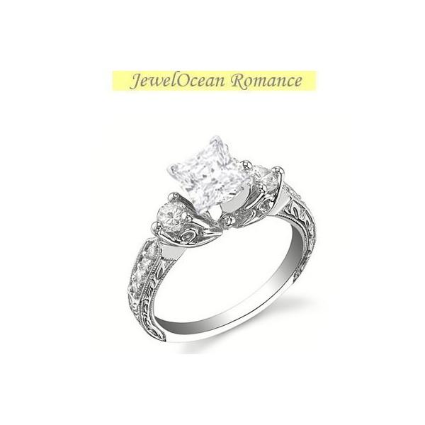 1 carat princess cut diamond antique engagement ring on 10k white gold - Wedding Rings Under 500