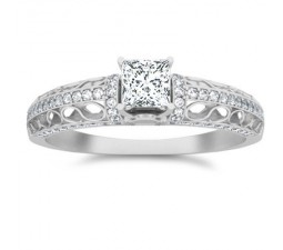 1 Carat Princess cut Diamond Designer Diamond Engagement Ring On 10K White Gold
