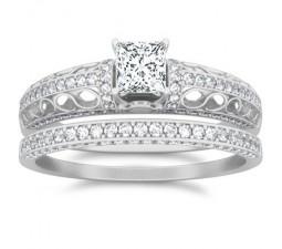 1 Carat Princess cut Diamond Wedding Ring Bridal Set On 10K White Gold