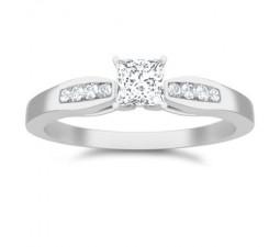 0.6 Carat Princess cut Diamond Inexpensive Diamond Engagement Ring On 10K White Gold