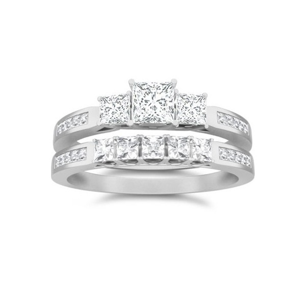 1 Carat Princess Cut Diamond Three Stone Bridal Set 10K White Gold