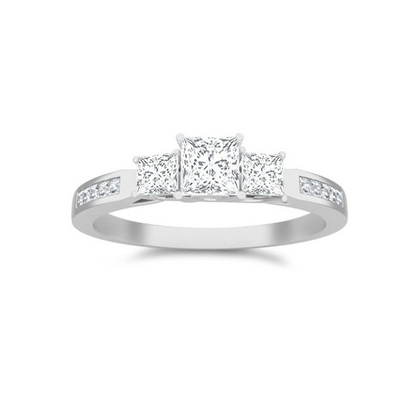 1 Carat Princess cut Diamond Three stone Diamond Ring On 10K White Gold