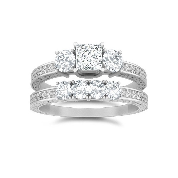 1 Carat Princess Cut Diamond Diamond Wedding Ring Set 14K White Gold