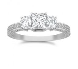 1 Carat Princess cut Diamond Antique Design Diamond Ring On 14K White Gold