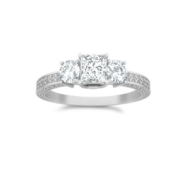 Elegant Antique Affordable Engagement Ring 1 00 Carat Princess Cut Diamond on
