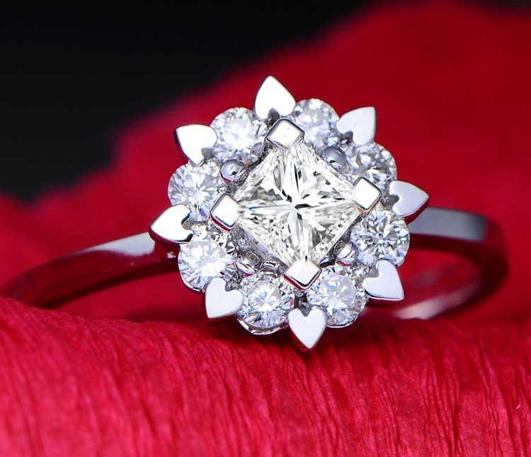 Lustrous Engagement Ring 0 50 Carat Princess Cut Diamond