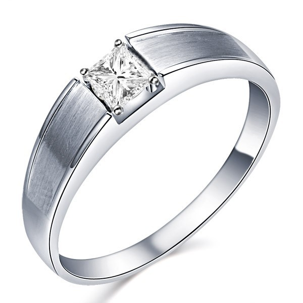 .33 Carat Princess Cut Diamond Menu0027s Diamond Wedding Band On 10K White Gold.