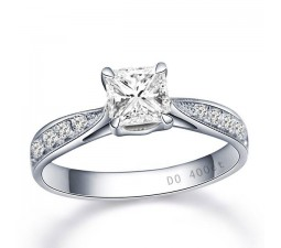 0.5 Carat Princess cut Diamond Multistone Ring On 10K White Gold
