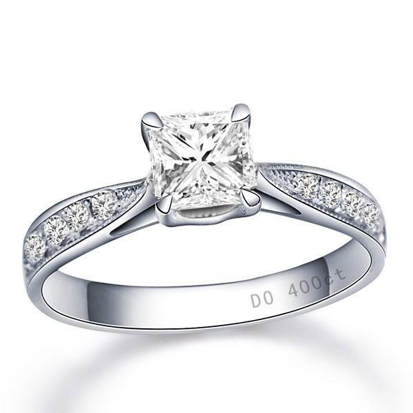 0.5 Carat Princess cut Diamond Multistone Ring On 10K White Gold