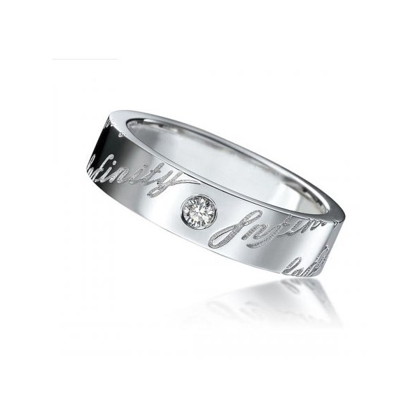 Infinity Mens Wedding Ring Band With Diamond On White Gold