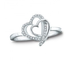 Heart Shaped Engagement Ring with Half Carat Diamonds on Gold