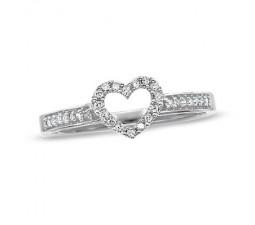 Inexpensive Diamond Heart Ring on Gold