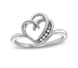 Inexpensive Heart Shaped Engagement Ring with diamonds on Silver
