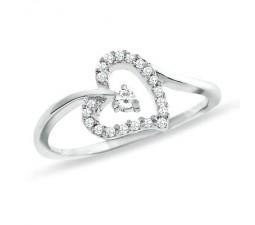 Half Carat Heart Engagement Ring on Gold