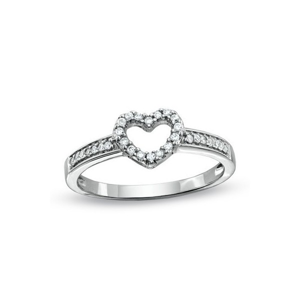 Inexpensive Heart Ring with 1/4 Carat Diamonds on Silver