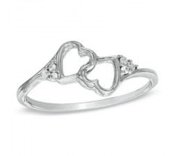 Twin Hearts Diamond Wedding Engagement Ring