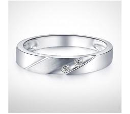 3mm Men Diamond Wedding Band on 10k White Gold