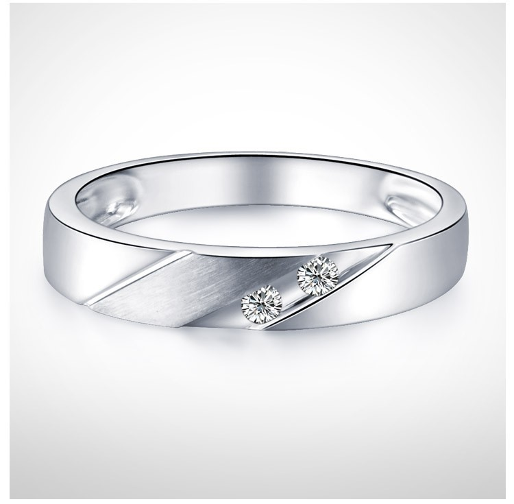 3mm Men Diamond Wedding Band on 10k White Gold JeenJewels