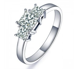 1 Carat Princess cut Three Stone Diamond Engagement Ring
