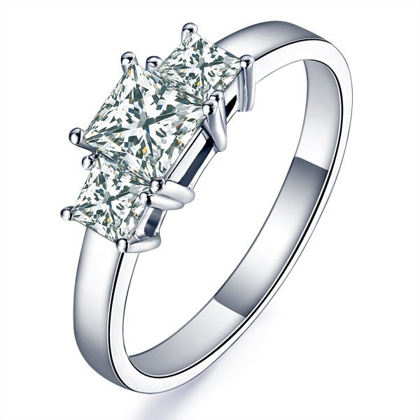 1 Carat Princess cut Three Stone Diamond Engagement Ring
