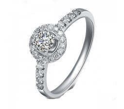 Round Cut Halo Diamond Engagement Ring on 10k White Gold