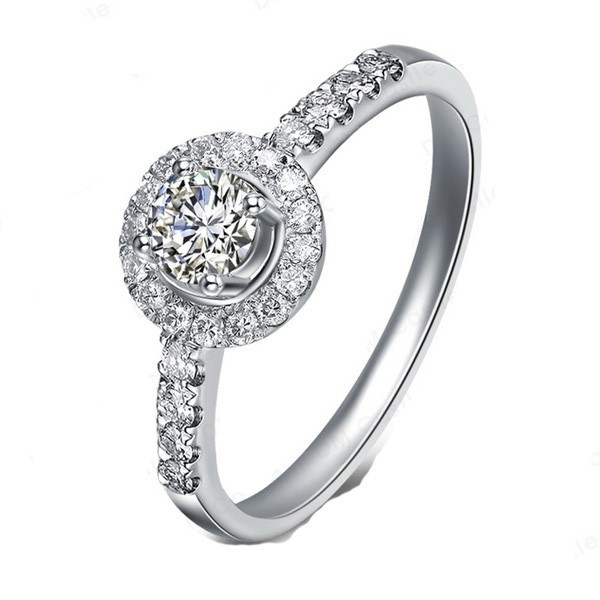 Graceful Halo Diamond Engagement ring Half Carat Round Cut Diamond on 10k Whi