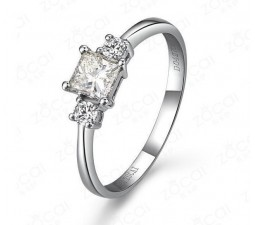 Three Stone Princess cut Diamond Engagement Ring