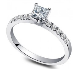 Inexpensive Princess Diamond Engagement Ring on 10k White Gold