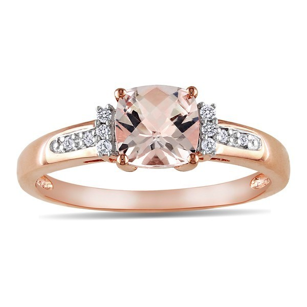 1 Carat Diamond and Morganite Engagement Ring in Rose Gold