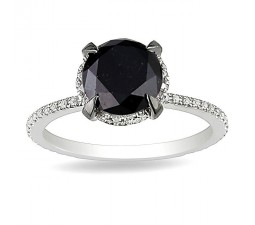 Huge Halo 2 Carat Black and White Diamond Engagement Ring in White Gold