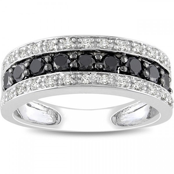 1 Carat Black and White Diamond Wedding Ring Band in White Gold JeenJewels
