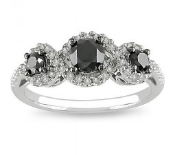1 Carat Three Stone Trilogy Black Diamond Engagement Ring in White Gold