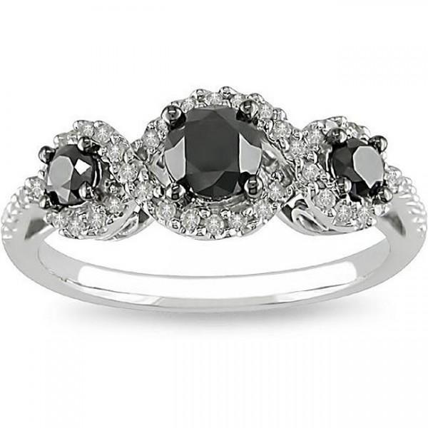 1 Carat Three Stone Trilogy Black Diamond Engagement Ring in White Gold